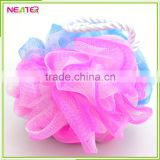 round shape body cleaning colorful mesh pouf bath sponge
