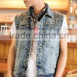 Fashion denim jacket for men oem high quality wholesale bling jeans vest rivert denim jacket(JXJ25855)