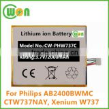 3.7V 2000mAh Lithium ion Battery for PHILIPS CTW737NAY Xenium W737 AB2400BWMC