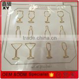 Professional factory gold Custom glass shaped paper clip for wine