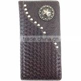 Cowboys Star Concho Carved Design Genuine Leather Bifold Western Men Wallet With Card Holder