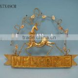 metal hanging deer Christmas wall plaque
