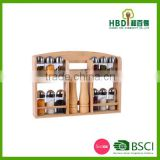 Best selling premium bamboo spice rack set with glass jars,bamboo spice jar set wholesale