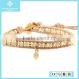 Natural Mother of Pearl Mix Bead Bracelet with Leaf Charm on Beige Leather