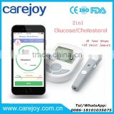 Bluetooth 4.0 Glucose / Cholesterol 2in1 Meter monitor with APP for IOS Android 10 Glucose Test Strips+10 twist lancets