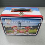 Custome wholesale tin box with handle and lock,kids lunch box,lunch tin box tin lunch box