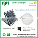 15 watt solar panel cell light solar powered round led panel house light with dual power adapter