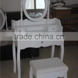 Home Furniture Elegant White Dresser Set With Mirrors And Stool Simple European Style Bedroom Furniture YD-B-1Item 80*40*135cm