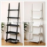 MDF wood display rack high quality 5-tier Leaning Ladder Book Shelf