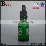 essencial oil glass bottel 20ml oil glass bottle green round shape beard oil glass bottle with black plastic dropper