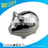 promotional gift silver zinc alloy material pig shape coin bank