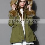 Detachable Faux Fur Jacket with fur collar fur sleeve ,women Army green Jacket coat