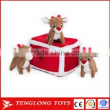 Custom plush toy christmas reindeer pen burrow reindeer squeaky plush toy for dog hide and seek
