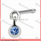 Ball Dangle Sapphire Nose Bone with blue crystal in stainless steel piercing jewelry rings