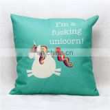 Cartoon Cute Cotton Linen Throw Pillow Case Memory Foam Car Seat Cushion Cover Home Office Decorative Unicorn Pillow