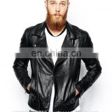 Men's Fashion Genuine Cowhide Milled Leather Bomber/Biker Jacket Quilted Pocket in Black