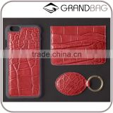 red crocodile leather phone case set, Croco Embossed Leather Card Holer Gift set, High class leather accessories                                                                                         Most Popular