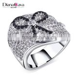 Promotion Gift Choice Fancy CZ Jewelry Black Ribbon Knot Design Lady Costume Ring