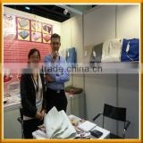 Turkish customer visit our hongkong Exhibition for polyester electric blanket with CE,ROHS certification