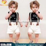 2016 Western baby boys sleeveless suits European style letters T shirt + shorts + suspenders handsome three-piece cloth set