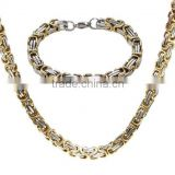 Men's Stainless Steel Bracelet Link Byzantine Chain necklace Set Two-tone necklace (MA012914)