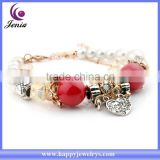 New fancy red beads bracelet 18k gold plated heart charm smart bracelet woman ( YWH5055-2)