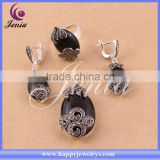 Factory direct price hot seling black agate stone jewelry set thai silver african fashion jewelry sets ( 0689T3)
