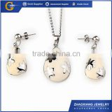 ERJS0149 white enamel stainless steel imitation jewellery for bridal set