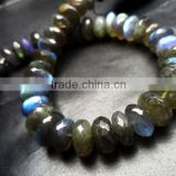 SEMI PRECIOUS NATURAL LABRADORITE 7MM-8MM FACETED LOOSE BEADS RONDELLE BEADS, LABRADORITE BEADS