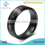 European laser men's black tungsten Rings electrocardiogram