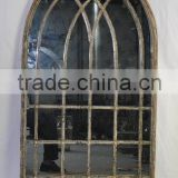 Antique decorative fancy metal framed wall mirror