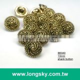 (#B6040/13mm) Taiwan fancy anthentic plated swirl pattern small shirt buttons with shank