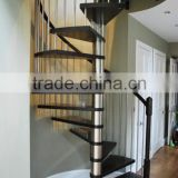 stainless steel wood spiral stairs with wood handrail                                                                                                         Supplier's Choice