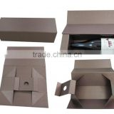Custom cardboard folding wine packaging box with magnets /red wine bottles packaging box