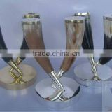 Set of 3 buffalo horn candle holder with silver plated/brass base. Size 20CM H