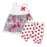 newest fashion casual suit for baby girls white flower shirt with small bowknot and red spot pant baby girl summer beautiful set