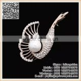 Lovely Swan Crystal Brooch With Pearl Brooch White Animal Goose Brooch