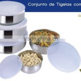 Stainless Steel Bowl With Plastic Lid / Storage Bowl / Round Bowl Set / Conjunto de Tigelas com Tampa