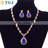 Gold Plated For Women Rhinestone Crystal Bridal YiWu Wholesale Fashion Water Drop Pendant earings Bracelet Necklace Ring Set