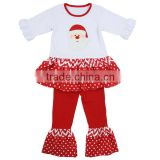 Baby clothes factory 2016 Christmas clothes long sleeve dress & ruffle pants set fall toddler set