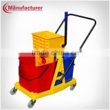 60L Plastic Supermarket Squeeze Wringer Mop Double Bucket Combo Trolley with Wheels