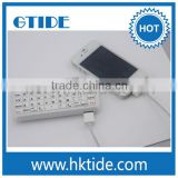 Top sale mini white color wireless bluetooth 3.0 qwerty keyboard with powerbank for iphone
