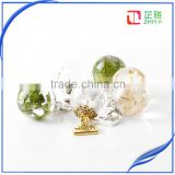 customized handmade clear resin ball with real planter with wish charm pendant jewelry for women gifts