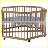 CE standard baby wooden bed wooden rail playard
