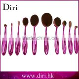 2017 custom logo makeup brushes rose gold painting oval brush set tooth makeup brush set 10pcs