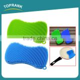 Toprank Hot Selling Heat Resistant Colourful Kitchen Cleaning Brush Pot Pan Dish Bowl Wash Scrubber Pad Silicone Dish Brush
