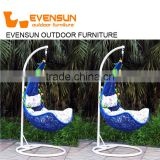 Cheap price outdoor garden rattan wicker hanging egg basket swing chair indoor with metal stand