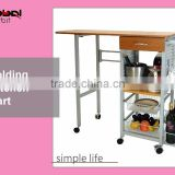 Kitchen Furniture Rolling Cart Folded Wine Storage Food Serving Trolley With Drawer