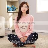 Wholesale Women's Pajama Suits Winter Thickening Coral Fleece Girl Pullover Sleepwear