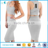 Womens Sexy Crop Top Long Skirt Two Piece Black Club Dress Bodycon Bandage Dress